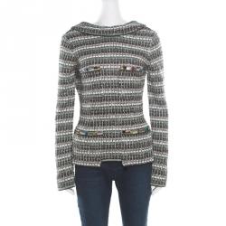 746d61db7639 Chanel Monochrome Silk Blend Crystal Embellished Plunge Back Tweed Blazer S