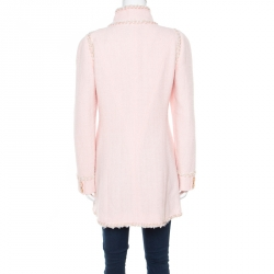Chanel Baby Pink Cotton Lurex Insert Tweed Button Front Long Coat M