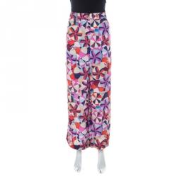 Chanel Multicolor Printed Silk Grosgrain Detail Wide Leg Trousers L