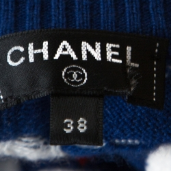 Chanel Blue Flight Patterned Jacquard Cashmere Sleeveless Sweater M