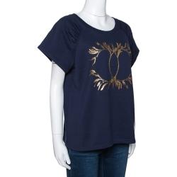 Chanel Navy Blue Grecian Goddess CC Print Cotton T-Shirt L