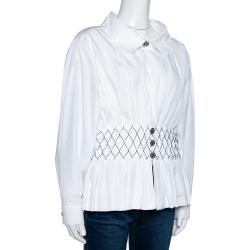 Chanel White Smocked Cotton Poplin Long Sleeve Blouse L