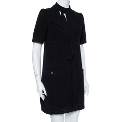 Chanel Black Perforated Knit Neck Tie Detail Zip Front Dress M