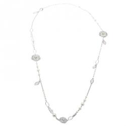 Chanel Pétales de Camélia Cultured Pearl Mother of Pearl & Diamond 18k White Gold Long Necklace