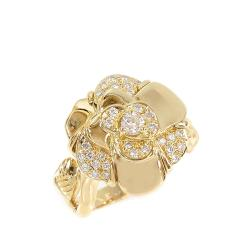 Chanel Camellia 18K Yellow Gold Diamond Ring Size 54