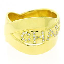 Chanel 18 K Yellow Gold Diamond Bolduc Ring Size 57