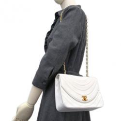 Chanel White Calfskin Double Chain Shoulder Flap Bag