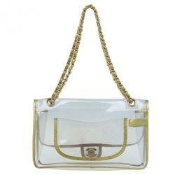 Chanel Gold Metallic Transparent Classic Single Flap Bag