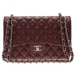 Chanel Burgundy Caviar Jumbo Double Flap Bag