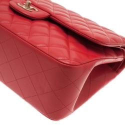 Chanel Red Lambskin Jumbo Double Flap Bag