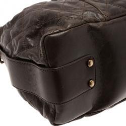 Chanel Brown Calfskin and Stingray Jumbo Accordion Bag