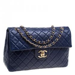 Chanel Blue Leather Maxi Jumbo XL Classic Flap Bag