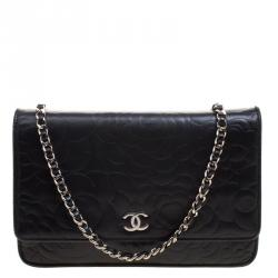 Chanel Black Camellia Embossed Leather WOC Clutch Bag
