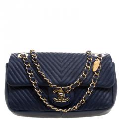 Chanel Navy Blue Chevron Leather Small Classic Flap Bag