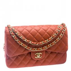 Chanel Red Orange Glaze Quilted Caviar Leather Jumbo Classic Double Flap Bag