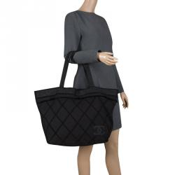 Chanel Black Quilted Terry Cloth Cotton Beach Bag
