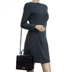 Chanel Black Crackled Leather Rita Flap Bag