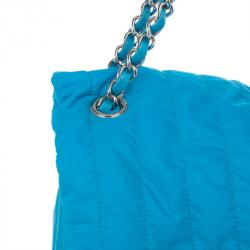 Chanel Blue Nylon Flap Bag