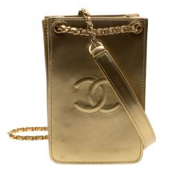 Chanel Gold Patent Leather CC Phone Holder Crossbody Bag