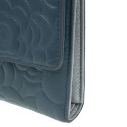Chanel Blue Lambskin Camellia Flap Wallet