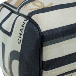 Chanel Black and White Canvas Le Train Boston