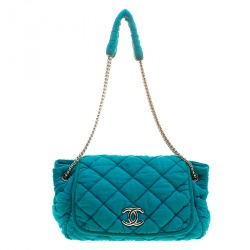 9b3d3a45570 Chanel Turquoise Quilted Bubble Jersey Snake Effect Chain Shoulder Bag
