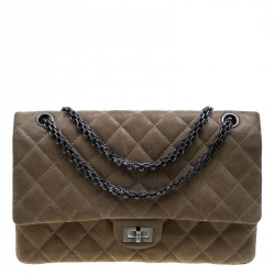 Chanel Beige Quilted Glazed Suede Reissue 2.55 Classic 226 Flap Bag