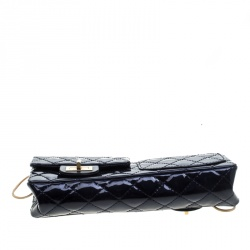 Chanel Blue Patent Leather Chain Clutch Bag