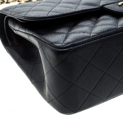 Chanel Black Quilted Leather Jumbo Classic Double Flap Bag