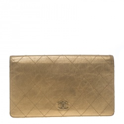 3ad09f008ae6 Chanel Gold Quilted Leather Classic Bifold Continental Wallet