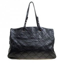 Chanel Black Quilted Glazed Leather Large On the Road Tote
