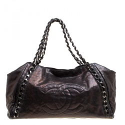 03d74edecd38 Chanel Metallic Brown Leather Modern Chain East West Tote