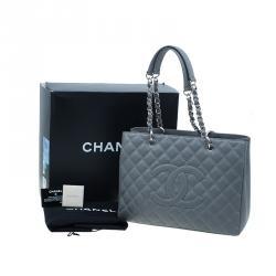 Chanel Grey Caviar Grand Shopper Tote
