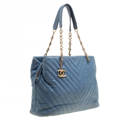 Chanel Blue Iridescent Chevron Quilted Leather Large  Surpique Tote