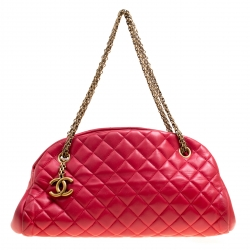 Chanel Red Quilted Leather Medium Just Mademoiselle Bowling Bag 41d1aec974