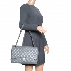 ece4d1638e2d Buy Chanel Grey Quilted Patent Leather Maxi Classic Double Flap Bag ...