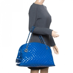 a4e76b1ec6b0 Chanel Blue Quilted Patent Leather Large Just Mademoiselle Bowling Bag