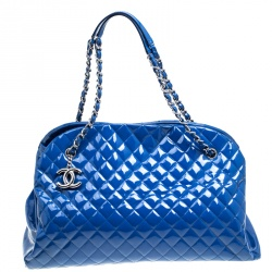 a9c2be498757 Chanel Blue Quilted Patent Leather Large Just Mademoiselle Bowling Bag