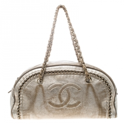 04f24f77393d Chanel Metallic Gold Leather Medium Chain Trim Luxe Ligne Bowler Bag