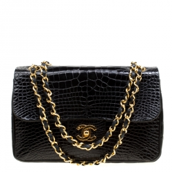 Chanel Black Alligator Small Vintage Classic Double Flap Bag a757aabde