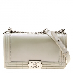 26e5f3a0d3 Chanel Pearl Patent Leather Medium Boy Flap Bag