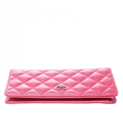 Chanel Pink Quilted Caviar Leather CC Long Wallet