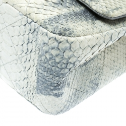 Chanel Off White/Blue Quilted Python Reissue 2.55 Classic 227 Flap Bag