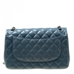 Chanel Blue Quilted Leather Jumbo Classic Double Flap Bag