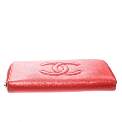 Chanel Coral Red Caviar Leather Large CC Zip Around Wallet