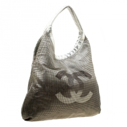 Chanel Silver/Black Leather Hollywood CC Hobo