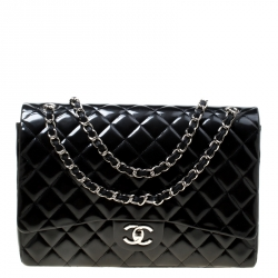 4137a6d4ff08 Chanel Metallic Black Quilted Striped Patent Leather Maxi Classic Double Flap  Bag