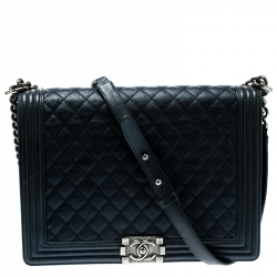 23bcc733cf Chanel Navy Blue Quilted Leather Large Boy Flap Bag