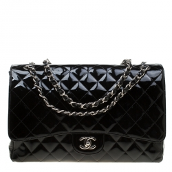 283f735978d3 Chanel Black Quilted Patent Leather Maxi Classic Single Flap Bag