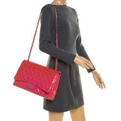 8585712a7ca30c Chanel Pink Quilted Patent Leather Maxi Classic Double Flap Bag